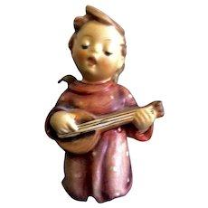 "Hummel Figurine Serenade #214 Goebel Angel Boy Singing With Guitar 3-1/4"" Nativity Girl TMK-5 The Last Bee (1972-1979) Foil"