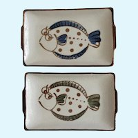 Zany Fish Canapé Sushi Plates or Serving Dishes Rectangle Ceramic