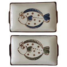 Fish Canapé Sushi Plates or Serving Dishes Rectangle Ceramic