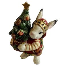 Fitz and Floyd Elf Bunny Rabbit Holding Christmas Lodge Tree Salt or Pepper Shaker Figurine Replacement