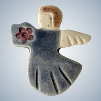 Christmas Country Blue Angel Hand Made Ceramic Brooch Pin