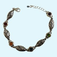 Silver-Tone and Multicolored Faceted Crystals Bracelet