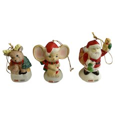CVS Bisque Christmas Tree Ornaments Mouse, Santa Clause and Reindeer Figurines