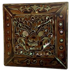 Vintage Dragon Black Lacquer Mother-of Pearl Inlayed Asian Lacquerware Abalone Shell Trinket Box