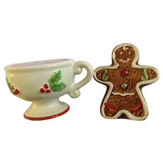 Christmas Gingerbread Man and Cup of Hot Chocolate Salt and Pepper Shakers Ceramic S&P Figurines