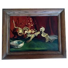 Leila E. Deakman Shell, Driftwood and Mistletoe Still Life Oil Painting on Board Signed by Artist