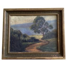Road Through Green Landscape Oil Painting on Canvas Board
