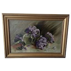 Mary Greene Wilson, 1917 Purple Hydrangea Floral Still Life Oil Painting Signed By Artist