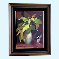 Leila E. Deakman Autumn Mood Still Life Oil Painting