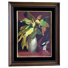 Leila E. Deakman Autumnal Mood Still Life Oil Painting on Board Signed by Artist