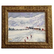 Figural People in Snow Landscape Folk Art Oil Painting on Canvas