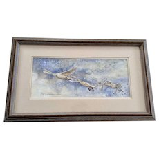 P W Ohlber, Snow Geese Migration, Original Watercolor Painting Signed by Artist