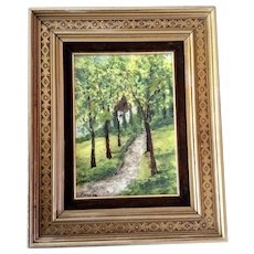 Raphael Esterida, Enamel Painting on Copper Metal Plate, Path Through The Woods Signed by Artist