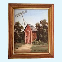Charles (Chas.) R. Handford (1909 - 1995) Southern TV Room Outhouse Oil Painting