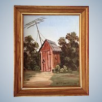 Charles (Chas.) R. Handford (1909 - 1995) Southern Redneck TV Room Outhouse Oil Painting on Canvas Signed by Listed Artist