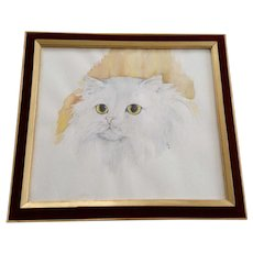 Persian White Kitty Cat Original Watercolor Painting Monogrammed By Artist