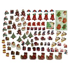 100 Mid-Century Christmas Package Seals Letter Stickers Santa Toys Gingerbread Men Poinsettias and More Paper