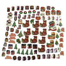 100 Mid-Century Christmas Package Seals Letter Stickers Santa Toys Snowmen Poinsettias and More Paper