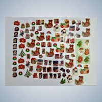 Mid-Century Christmas Stickers Package Seals Letter Santa Toys Snowmen Poinsettias and More Paper 100 Pcs