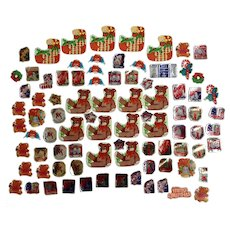 85 Mid-Century Christmas Package Seals Letter Stickers Santa Toys Snowmen Poinsettias and More Paper