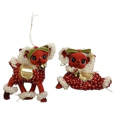 Mid-Century Christmas Flocked Red Reindeer Ornaments Hand Decorated in Christmas Outfits