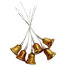 Mid-Century Golden Glass Bells Package Decorations