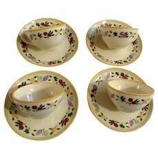 Franciscan Ware Small Fruit Flat Cup and Saucer for Coffee or Tea Made in USA Group of 4 Sets