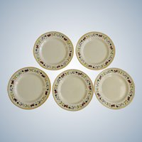 """Franciscan Ware Small Fruit Salad Plates Made in USA California Pottery 8-1/4"""" Five Pieces"""