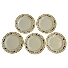 "Franciscan Ware Small Fruit Salad Plates Made in USA California Pottery 8-1/4"" Five Pieces"