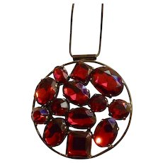"""Cranberry Red Pendant on Smooth Chain necklace 24"""""""
