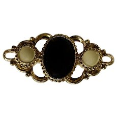 Black and White on Gold-Tone Filigree Brooch Pin