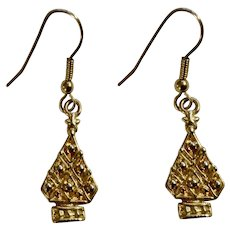 Small Gold-Tone Christmas Trees Fishhook Earrings for Pierced Ears