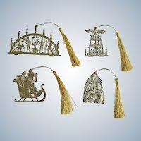 TZ Christmas Pewter tone Medal Nativity, Santa, Christmas Pyramid Windmill & 7 Candlestick Germany Ornaments