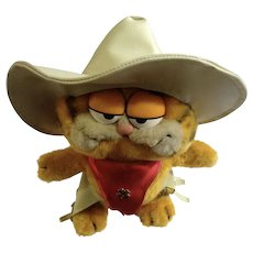 1981 Garfield The Cat Cowboy Rustler with Hat Jim Davis Plush Stuffed Animal By Dankin