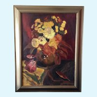 Leila E. Deakman Autumn Ruth's Fall Flowers Still Life Oil Painting