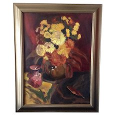 Leila E. Deakman Ruth's Fall Flowers Still Life Oil Painting on Board Signed by New Jersey Artist