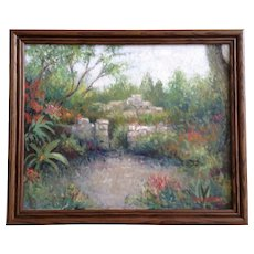 Bob Haynes Stone Garden Gate Impressionist Landscape Oil Painting on Canvas Signed by Listed Colorado Artist #9