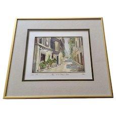 Via Del Gardello & Colosseo Rome Italy Watercolor Painting