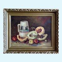 Welton M Brady, Fruit and Southwestern Jug Still Life Oil Painting