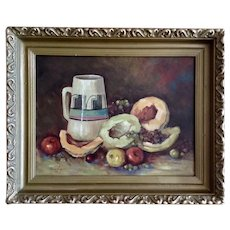 Welton M Brady, Fruit and Southwestern Jug Still Life Oil Painting on Board Signed by Albuquerque Artist