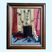 Leila E. Deakman Oriental Flowers Still Life Oil Painting on Board Signed by New Jersey Artist