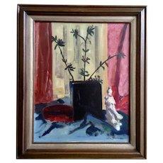 Leila E. Deakman Oriental Flowers Still Life Oil Painting on Board Signed by New Jersey Artist