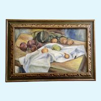 M Britton, Table Still Life Oil Painting on Canvas 1937