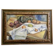 M Britton, Table Still Life Oil Painting on Canvas Signed by Artist 1937