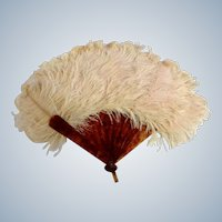 Antique Feather Fan Victorian Faux Tortoiseshell Pastel Pink Ostrich 12 Inch Span
