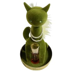 Max Factor Sophisti-Cat Vintage 1960's Green Perfume 1/8 Fl Oz Bottle Under Dome