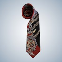 Circa 1970's Essentia 100% Silk Neck Tie Made in Italy Warm Colors