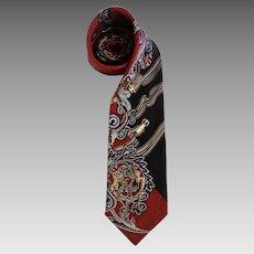 Circa 1970's Essentia 100% Silk Neck Tie Made in Italy Warm Colors