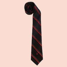 Vintage Yves Saint Laurent Necktie Black & Red with YSL Logo