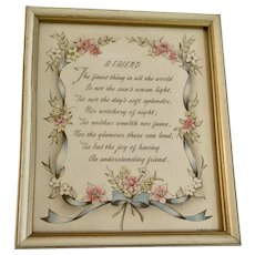 Vintage Friend Poem With Pink, Yellow and White Flowers Framed Picture A Buzza Motto